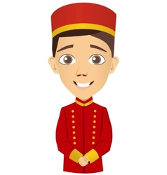 Young bellhop waiting for the client vector