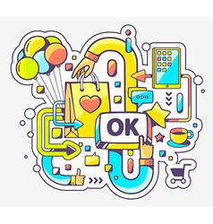 Colorful of shopping online and ok button on vector