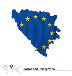Map of bosnia and herzegovina with european union vector