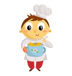 Kid cook cartoon character isolated on white vector
