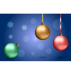 Christmas balls on the blue background vector image