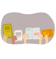 Many hands holding blank book and text books vector