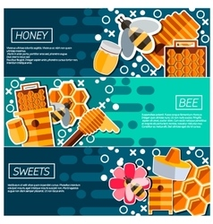 Set of horizontal banners about honey vector