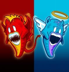 Angel and demon plain vector