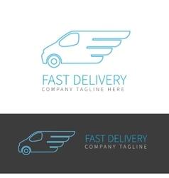 Blue delivery van contour logo vector