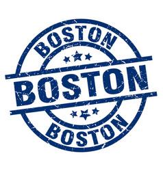 Boston blue round grunge stamp vector