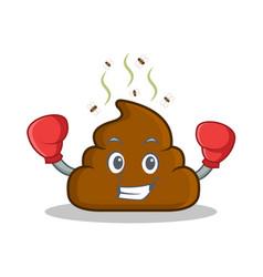 Boxing poop emoticon character cartoon vector
