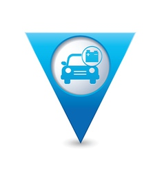 Car with accumulator icon pointer blue vector