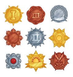 collection of golden silver and bronze medals or vector image