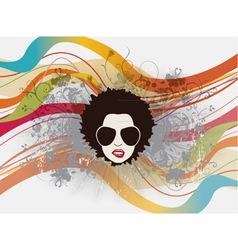 funky face with floral vector image vector image
