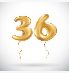 Golden number 36 thirty six metallic balloon vector