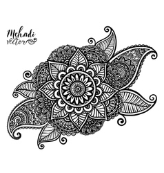 hand drawn tribal element in Indian mehndi vector image vector image