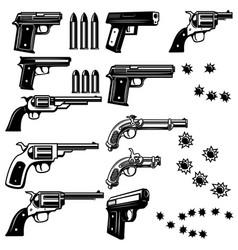 Handguns isolated on white background bullet holes vector