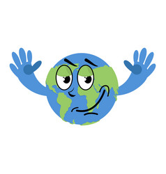happy earth isolated good planet on white vector image