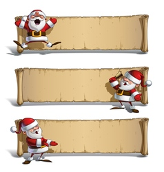 Happy santas papyrus celebrating presenting set vector