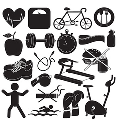 Health and Fitness Icons Collection vector image