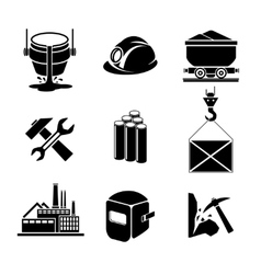 Heavy industry or metallurgy icons set vector image