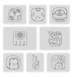 Icons with american indians relics dingbats vector