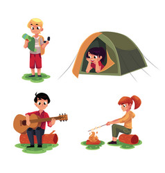 kids studying map in camping tent playing guitar vector image