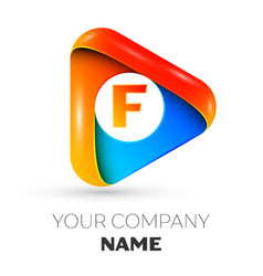 Letter f symbol in the colorful triangle vector