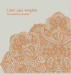 Linen orange brocade card template vector
