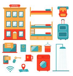 Low cost hostel travel design elements set vector