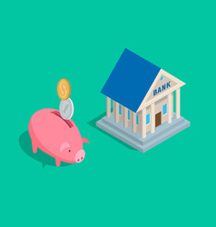Money accumulation concept with piggybank and bank vector