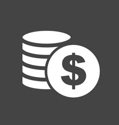 Money silhouette icon on grey background coins in vector