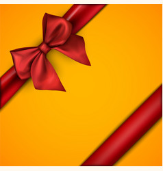 Orange holiday background with red bow vector