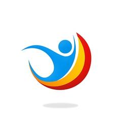 people happy sport logo vector image