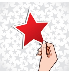 red star sticker vector image vector image