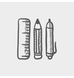 School supplies sketch icon vector image