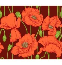 seamless pattern of red poppies on dark background vector image vector image
