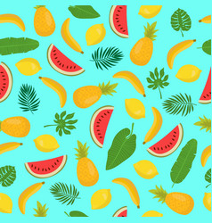 seamless pattern with bananas pineapples vector image vector image