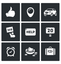 Set of Hitchhiking tourism Icons Thumb vector image vector image