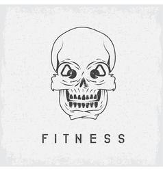 Skull with kettlebells in eyes grunge fitness vector