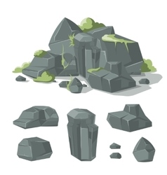 Stones and rocks cartoon nature boulder vector