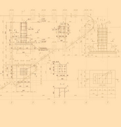 vintage architectural blueprint background vector image