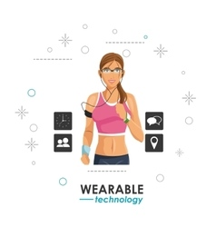 Woman electronic wearable technology vector