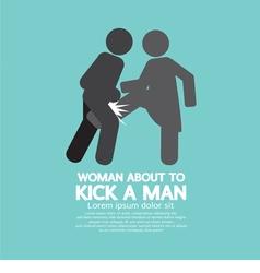 Woman Kick A Man Symbol vector image vector image