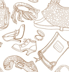 Seamless pattern of female clothing and leather vector