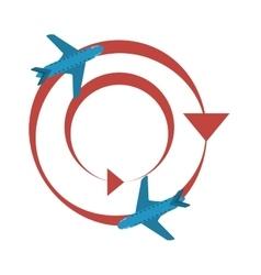 Worldwide traveling tourist plane vector