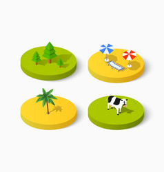 set of isometric signs of icon summer vector image