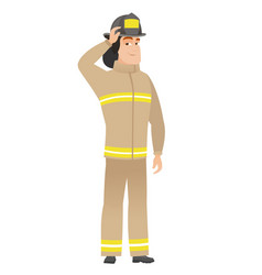 Young caucasian firefighter scratching his head vector