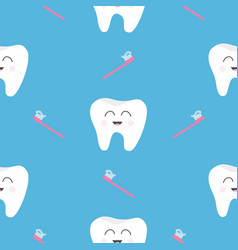 Pattern seamless brush tooth health cute funny vector