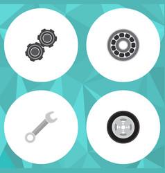 flat service set of belt tire brake disk and vector image