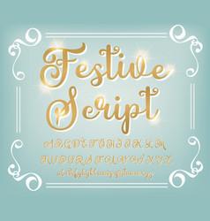 Gold calligraphy tattoo alphabet english script vector