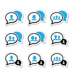 Business meeting communication icons set vector image