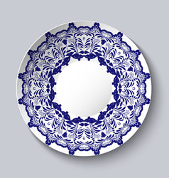 Decorative ceramic plate with a blue floral vector