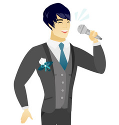Young asian groom singing to the microphone vector
